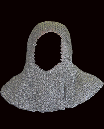 Chainmail Coif Large Size Flat Riveted Stainless CFRS09