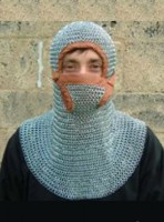 Chainmail Coif Butted with Leather Border