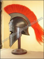 Greek Corinthian Helmet Black Finish with Red Plume