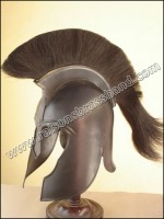Trojan Helmet Troy Helmet Black Finish+B Plume