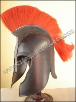 ROMAN TROY HELMET BLACK FINISH WITH RED PLUME