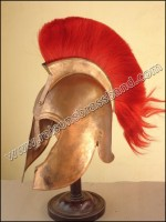 Troy Helmet, Trojan Helmet Copper Finish Red Plume