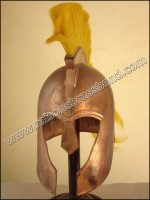 Troy Helmet, Trojan Helmet Copper Finish yellow Plume