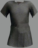 Butted Chainmail Shirt Chain mail Hauberk XXL+ with Coif - Black