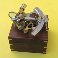 Sextant Wooden Box Aluminum And Brass