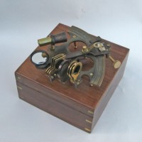Aluminum Sextant Brass Inlay Antique. Wooden Boxed