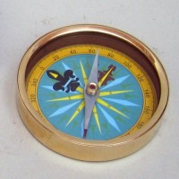 Brass Directional Compass, Beautiful Colored Dial