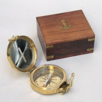Clinometer Compass, Wood Box