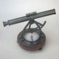 Alidade Theodolite Compass, Wooden Base