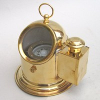 Brass Helmet Gimbal Compass. No oil lamp