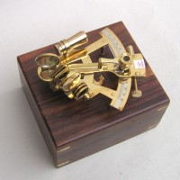 Solid Brass Sextant With Inlaid Wooden Box