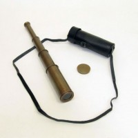 Antique Brass Telescope, Retractable with leather case