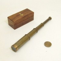 Antique Brass Pullout Telescope, Wood Box
