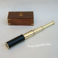Brass Pullout Telescope, Wood Box