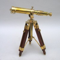 Brass Telescope on Wooden Base