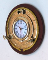 Port Hole Clock Rope Wooden Base