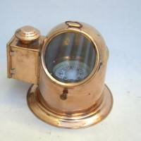 Copper and Brass Binnacle Compass with Oil lamp.