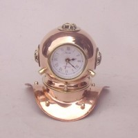Diver's helmet clock, brass with copper finish