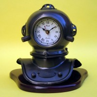 Iron Diver's Helmet Clock With Wooden Base
