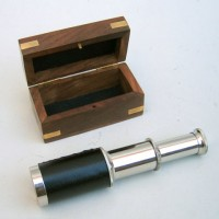 Chrome Pullout Telescope, Wood Box